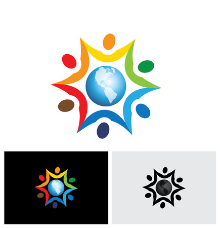 multi racial: vector graphic icon of people joining together with a center world icon. The graphic represents multi racial, global community of humans living in harmony and peace