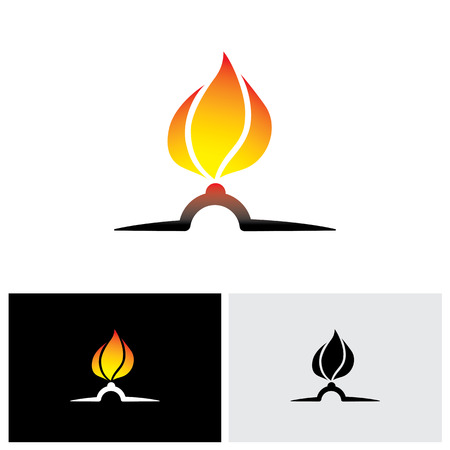 ignited: Nozzle with gas burning bright as hot orange yellow flame vector icon Illustration