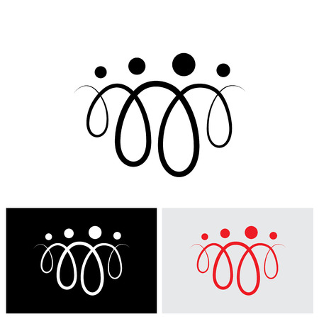 four people: Family of four people abstract symbols using line loops - vector icon. The icons are of father, mother, son & daughter in black colored lines Illustration