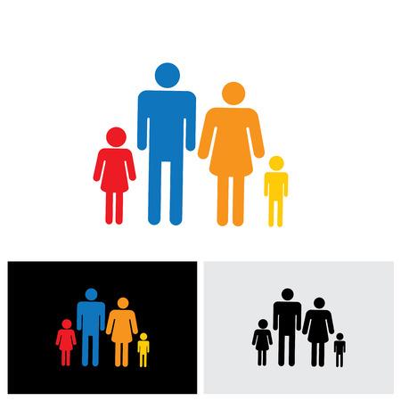 Gezin van vier mensen symbolen - vader, moeder, zoon en dochter vector iconen