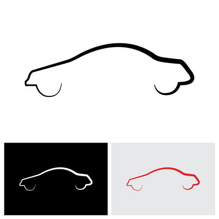 silhouette voiture: moderne et élégant voiture ou berline contour vecteur logo icône Illustration
