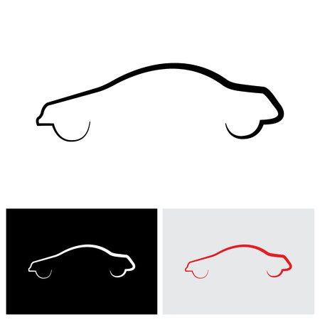 simplistic icon: sleek modern car or sedan outline vector logo icon