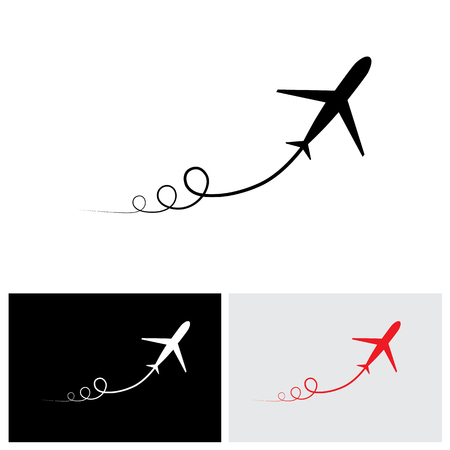 airplane take off: vector icon of airplane take off showing its path & speeding up. This illustration can also represent silhouette symbol of a military jet or plane zoom in the sky with high speed