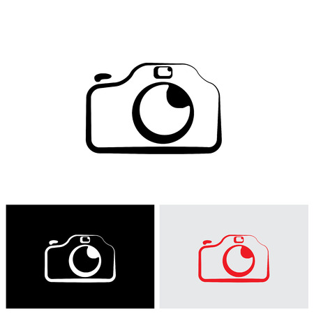 camera symbol: vector logo icon of digital modern camera with flash icon symbol. The graphic shows the photographic equipment in black and white styled like a doodle or hand drawing Illustration
