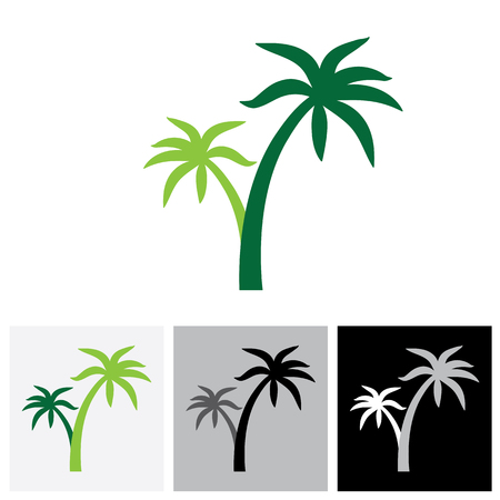 this: Coconut palm tree icons or symbols of travel - vector graphic. This illustration represents exotic travel destinations, tropical tourism places, beach and sea resorts and spas, etc Illustration