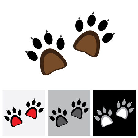 lion claw: Claw footprint pair of cat or lion or tiger or cheetah or jaguar - concept vector graphic