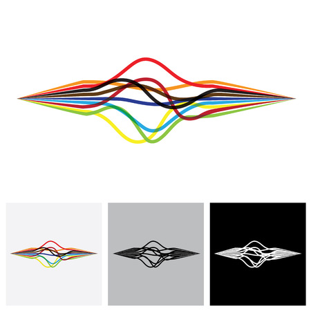 sharp curve: abstract colorful wavy wires or ribbons or lines - vector graphic. This illustration shows intertwined tapes forming a beautiful abstract shape