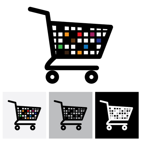 internet symbol: abstract colorful shopping cart icon or symbol - vector graphic. This illustration shows design of an empty trolley symbolic of online e-commerce based shopping cart used in internet websites Illustration