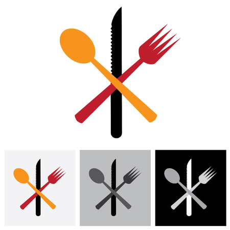 knife fork: Abstract icons & symbols of spoon, knife, fork - vector logo icon. This illustration represents signs and symbols for hotel, restaurants, food blogs, websites, etc