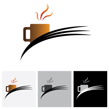 simple logo: Freshly brewed coffee in a cafe or cafeteria - vector logo graphic. The illustration shows coffee cup icon or symbol and flowing aroma or flavors from it.
