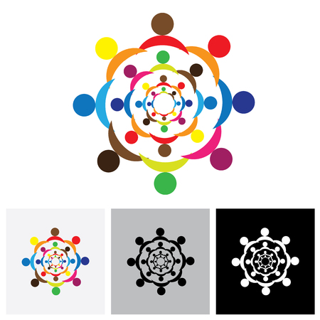 business group: Abstract colorful people logo icons in circles. This  can also represent concept of children playing together or friendship or team building or group activity,etc