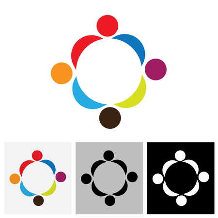 coalition: Abstract colorful people vector logo icons showing close relationship. This can also represent concept of children playing together or friendship or team building or group activity,etc