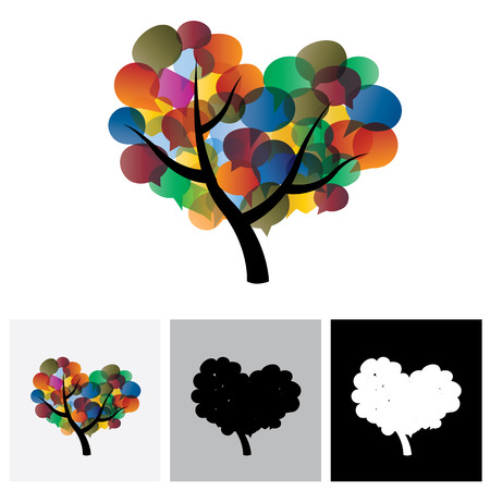 chat: Colorful tree chat vector icons & speech bubble symbols. This graphic illustration represents social media communication or online chats and dialogs, discussions, etc