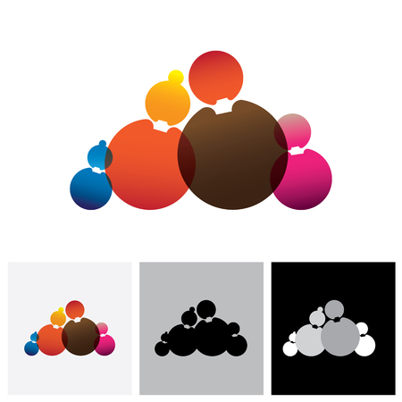nuclear family: Family of father, mother, son & daughter - abstract vector logo icon. This represents a nuclear family of parents and children