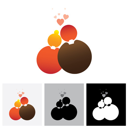 paramour: Boyfriend & girlfriend or love couple vector logo icon ( symbol ). This  also represents married couple, husband & wife, bride and bridegroom, live-in partners, lovers, romantic couple, pair