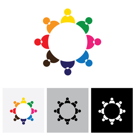 Mitarbeiter der Gesellschaft oder Mitarbeiter als Team zusammen - Vektor-Logo-Symbol. Dies stellt auch Kinder spielen zusammen, soziales Netzwerk, Teambildung, Rundtischgespräche