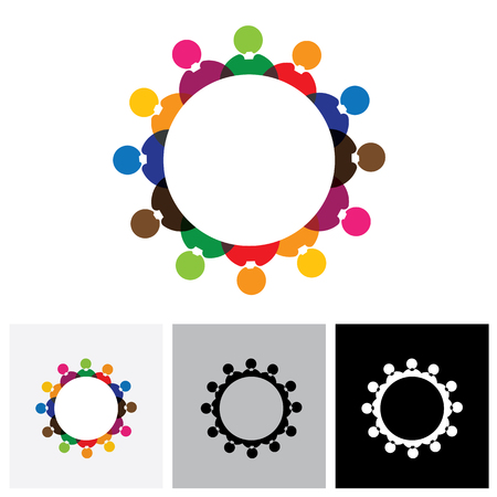 school meeting: Abstract colorful vector logo icons of children or kids in school standing in circle. This also represents concept of employees or workers meeting, workers union, executive staff discussions Illustration