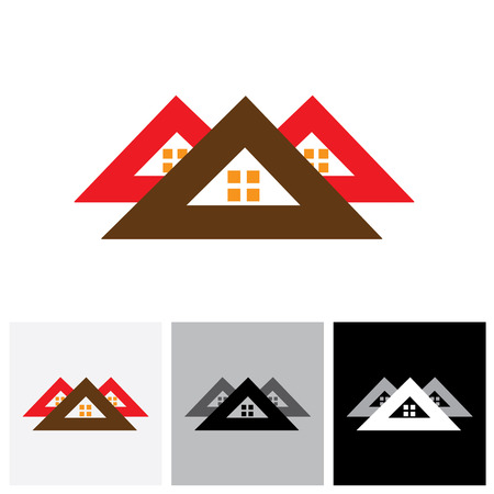 homestead: House ( home ) vector logo icon ( sign) for real-estate industry. The illustration is also a icon for buying & selling property, residential accommodations, offices, etc Illustration