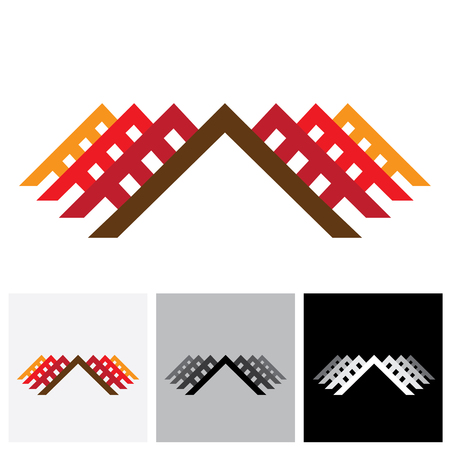 accommodations: House ( home ) & office vector logo icon for real-estate industry. The illustration is also a icon for buying & selling property, residential accommodations, offices