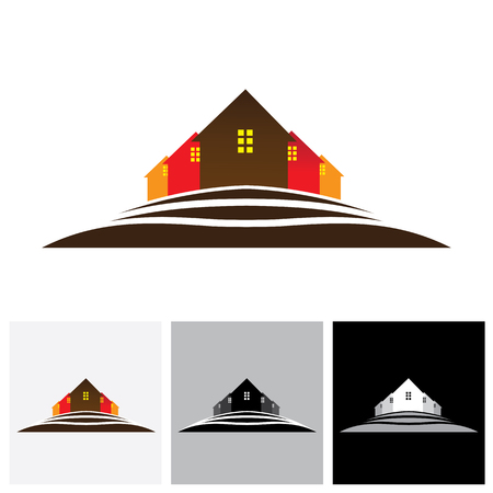 homestead: House ( home ) & residences on hill vector logo icon for real estate market. This also a icon for buying & selling property, residential accommodations, offices, etc