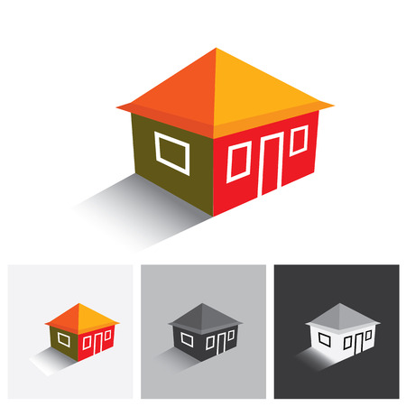 buying real estate: House ( home ) or hut vector logo icon for real estate. This represents buying & selling property, residential accommodations, travel & tourism, camping, hiking & adventure Illustration