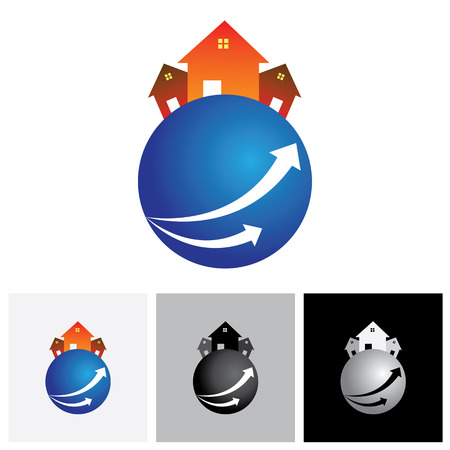 residential home: House ( home ) or residence vector logo icon on a planet. The illustration is also a icon for buying & selling property, residential accommodations, rental services Illustration