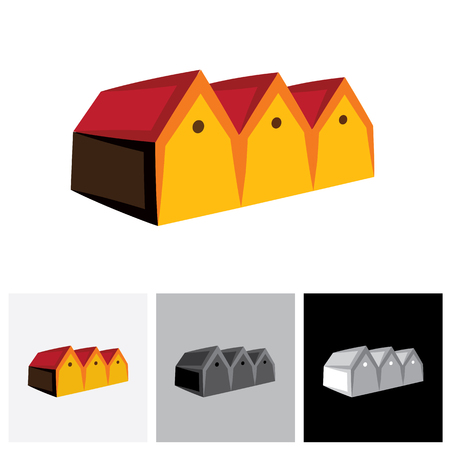 shed: House ( home ) or store ( shed ) vector logo icon for real estate. The represents buying & selling storehouse and residential property, storage office space, etc
