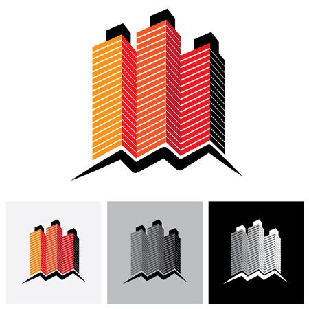 anuncio publicitario: Casa (casa), la oficina o el logotipo del icono del vector de apartamentos. Esto representa la compra y venta de viviendas y locales comerciales, residenciales alojamiento, alquiler de oficinas y servicios de arrendamiento Vectores