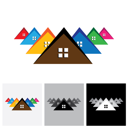 residential home: House ( home ), residential locality vector logo icon of a town or city. This also represents buying & selling residential property, office, etc Illustration