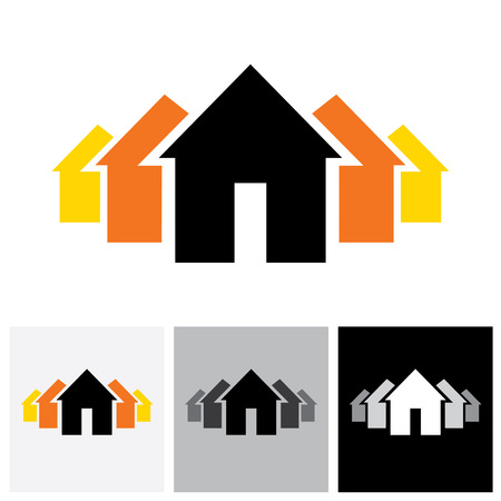 buying: House ( home ) & residence sign for real estate - vector logo icon. This represents buying & selling property, residential accommodations, offices, etc
