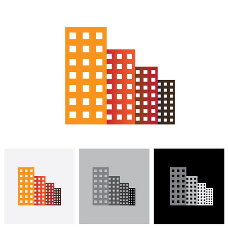 multistorey: Colorful commercial buildings, offices, apartments vector logo icon. This also represents buying & selling residential property & commercial property, office & other establishments Illustration