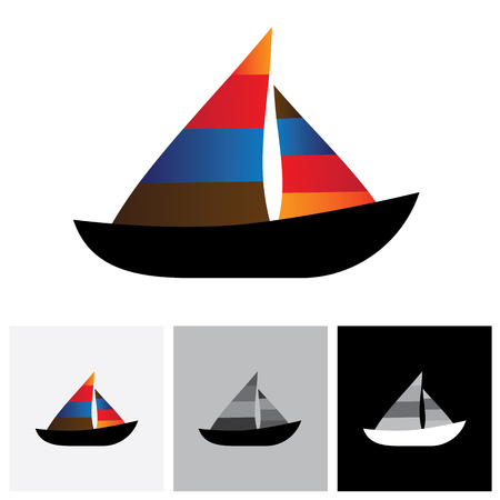 watercraft: Colorful sailboat or yacht vector logo icon. The also represents any small watercraft for travel or fishing purposes