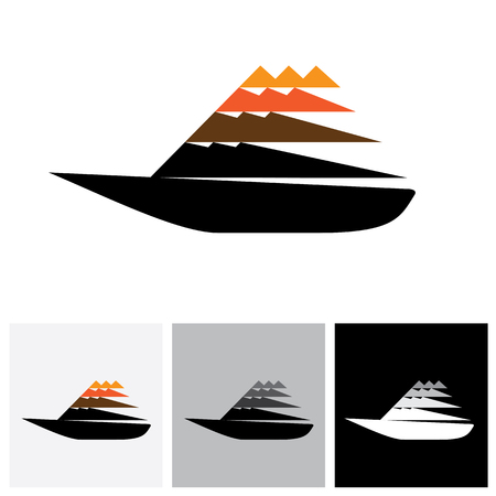 yacht: Colorful sailboat or yatch vector logo icon moving fast. The also represents any small watercraft for travel or fishing purposes traveling at high speed
