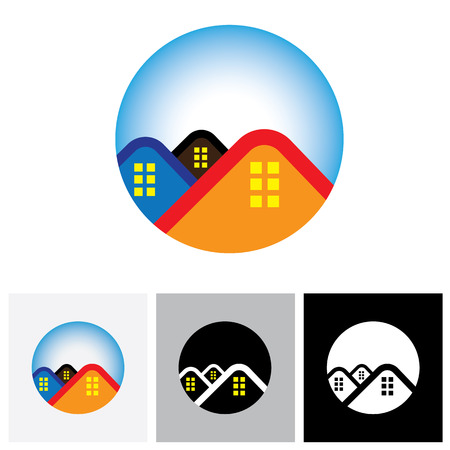 residential home: House ( home ) & residence symbol for real estate - vector logo icon. The also represents buying & selling property, residential accommodations, offices, etc