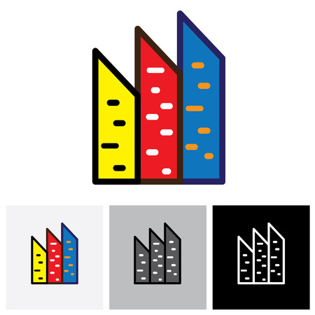 establishments: Colorful commercial buildings, offices, apartments vector logo icon. This also represents buying & selling residential & commercial property, office & other establishments