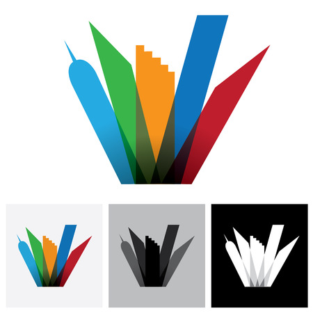 multistorey: Colorful commercial buildings,offices, cityscape- vector logo icon. This also represents buying & selling residential & commercial property, office & other establishments