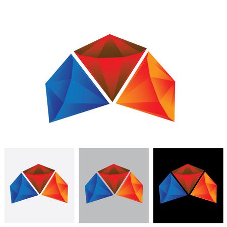diamond stone: Orange, red, blue color shiny diamond stone - vector graphic jewel icon.