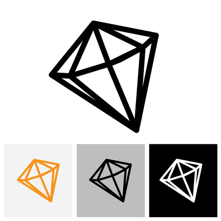 gems: Black and white outline of a diamond stone - vector graphic jewel logo icon Illustration