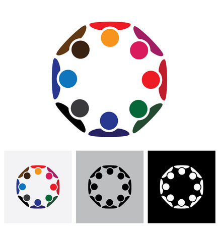 diversity: Concept of workers meeting, employee interaction - vector logo icon. This also represents colorful kids playing together in circles or people diversity or workers unity, etc