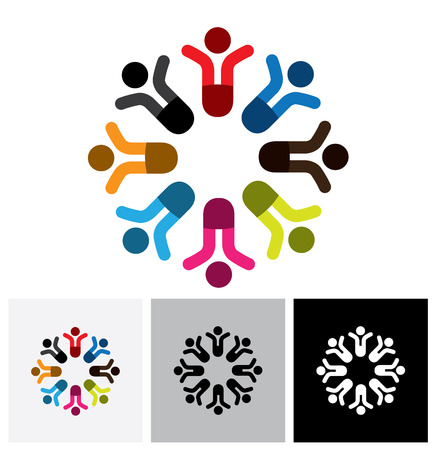 cooperating: Concept vector graphic - social media communication & people vector logo icon. This also represents people meeting, teamwork, network, employee unity & diversity, worker groups, etc Illustration