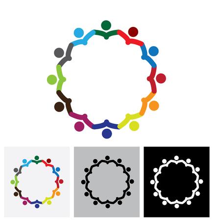 cooperativismo: empleados de oficina o reunión de personal de la empresa - vector logo icono. Esto también representa una reunión de apoyo de grupo, los estudiantes aprenden, unidad de la comunidad, la estrategia y planificación de la gestión Vectores