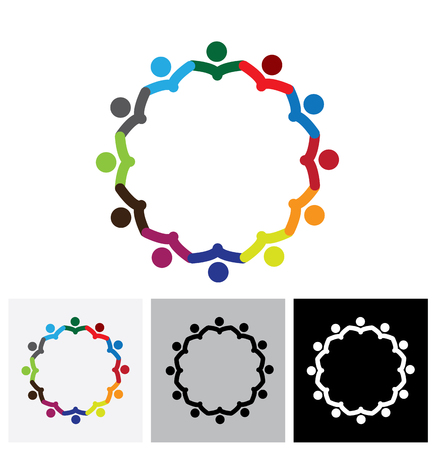 office employees or company staff meeting - vector logo icon. This also represents support group meeting, students learning, community unity, management strategy & planning Vettoriali