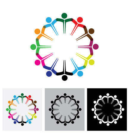 cooperating: Concept vector logo icon - people or kids icons with hands together. This also represents people meeting, teamwork, network, employee unity & diversity, children playing, etc