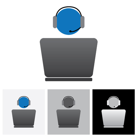 front office: Customer support or front office worker & laptop - vector graphic. The illustration shows an employee icon with headphone and laptop with space for business text and business slogan Illustration