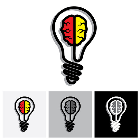 ingenious: Concept vector icon of Idea generation, problem solution, creativity. This graphic illustration consists of a bulb and a brain inside it.
