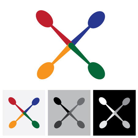 arrangement: abstract colorful arrangement of spoons - vector logo icon. The illustration represents icons and symbols for hotel, restaurants, food blogs, websites, etc