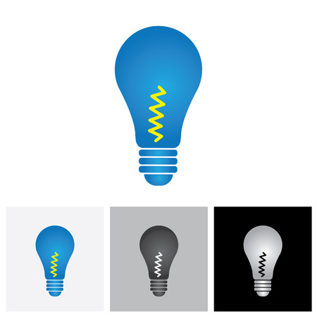 concepts and ideas: The colorful light bulb glowing - vector graphic. This illustration shows bulbs in blue and black colors & represents concepts like generation & flow of different ideas,ready made solutions,etc