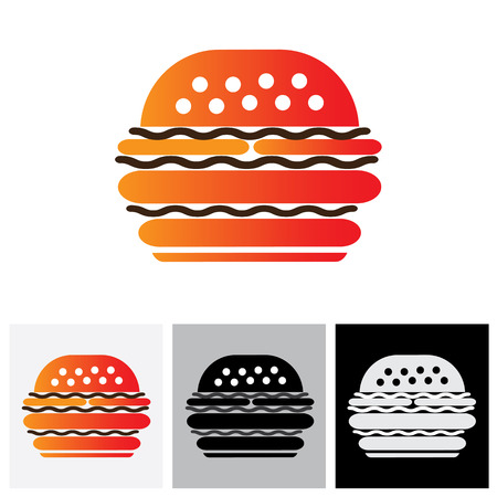 stuffing: Fast food burger vector icon for cafes, restaurants and hotels. The graphic represents burger sign or symbol for hotels, restaurants, inns, motels, food blogs, websites, etc Illustration