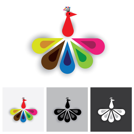 Bird of paradise or colorful feathers of peacock - vector logo icon. The illustration shows a peacock showing its vivid and vibrant feathers