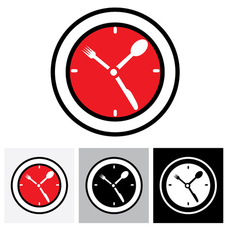 lunch hour: Lunch hour, food time, dinner time - concept vector illustration. The graphic icon represents concept time for food, meal, lunch, etc Illustration